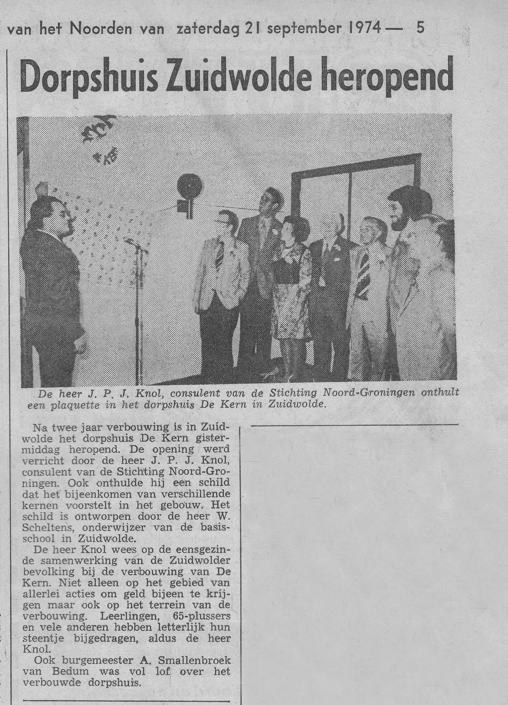 Heropening 20 september 1974